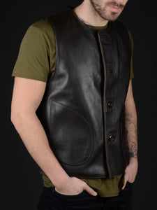 Macone Leather Vest - Lightweight Olive -