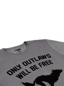 El Solitario Outlaws Grey T-Shirt. Detail
