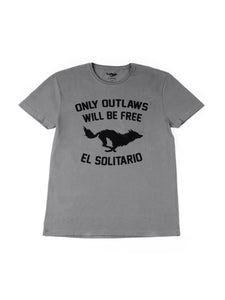 El Solitario Outlaws Grey T-Shirt. Front