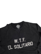Load image into Gallery viewer, El Solitario WTF Black sweatshirt. Detail Front
