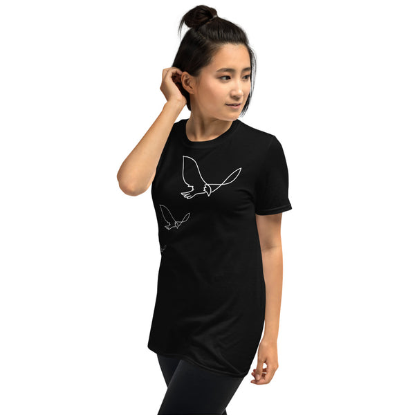 young woman smiling, happy,  soft t-shirt, three birds , be free