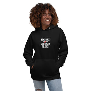 Woman smiling in cool and comfortable hoodie, Being Black Does Not Equal Suffering in Silence