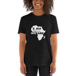 woman smiling in soft t-shirt, I am because we are.