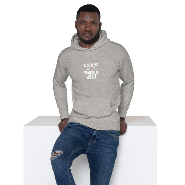 Man smiling in cool and comfortable hoodie, Being Black Does Not Equal Suffering in Silence