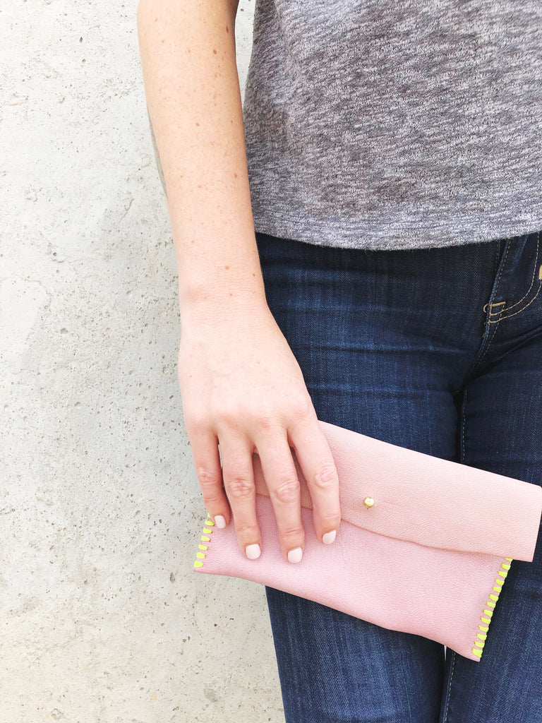 kaia leather clutch