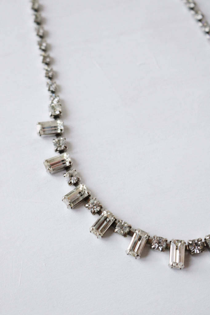 rhinestone baguette necklace
