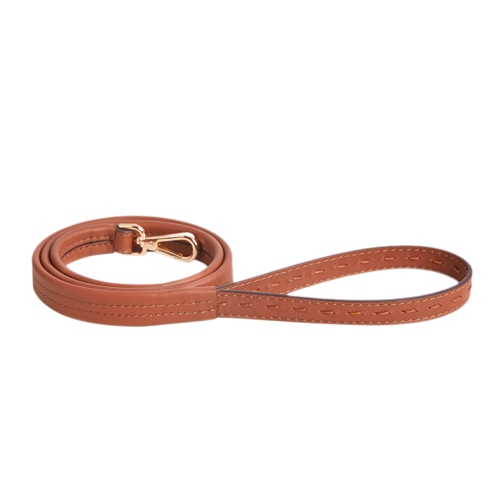 Leather Dog Leash, Navy