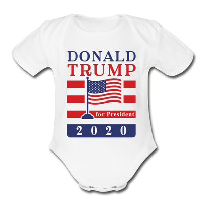 Donald Trump for President 2020 Organic Cotton Baby Onsie - white