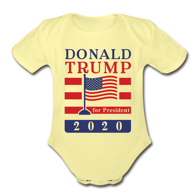 Donald Trump for President 2020 Organic Cotton Baby Onsie - washed yellow