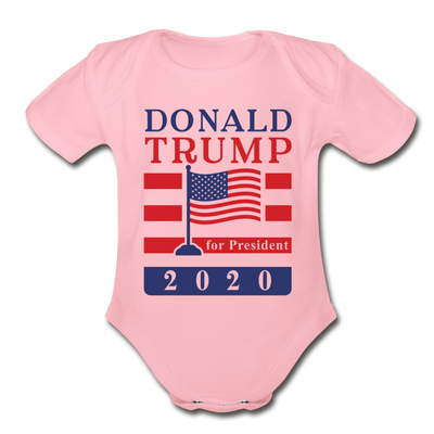 Donald Trump for President 2020 Organic Cotton Baby Onsie - light pink
