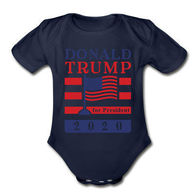 Donald Trump for President 2020 Organic Cotton Baby Onsie - dark navy