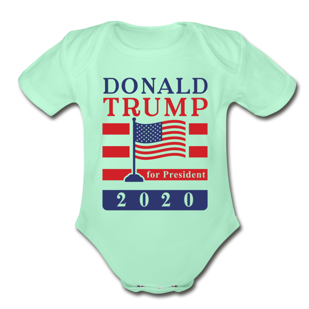 Donald Trump for President 2020 Organic Cotton Baby Onsie - light mint