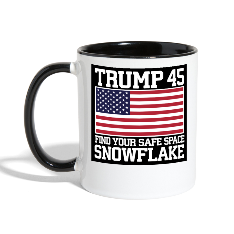 Trump 45 Find Your Safe Space Snowflake Coffee Mug - white/black