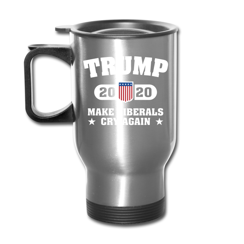 Trump 2020 Make Liberals Cry Again Travel Mug - silver