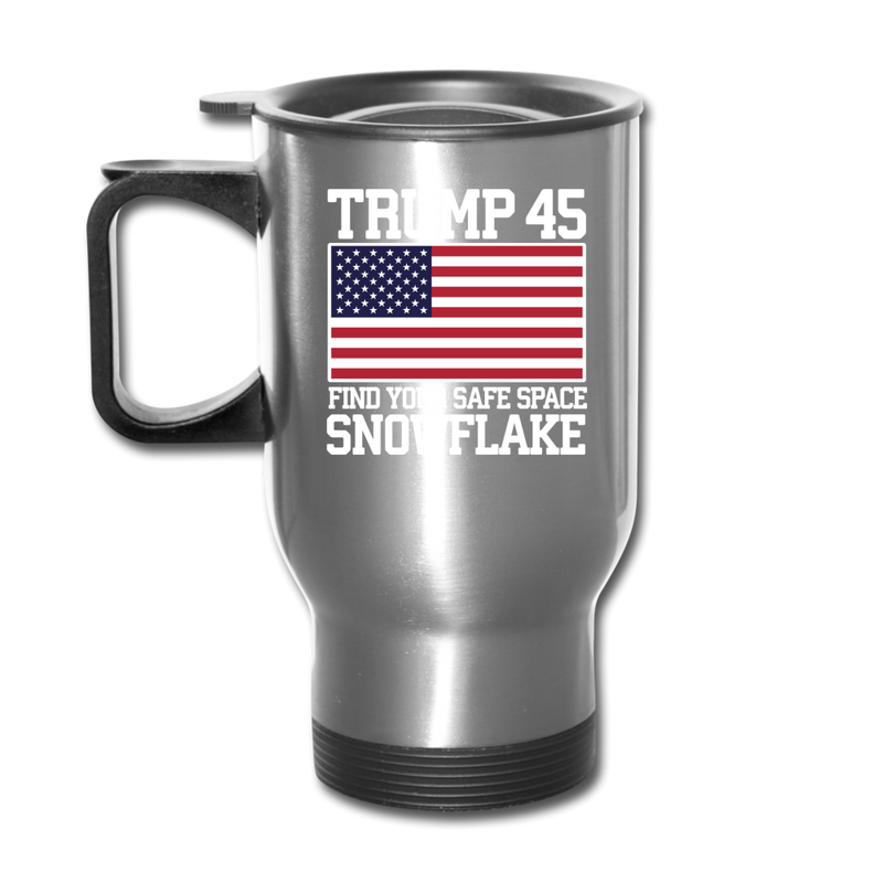 Trump 45 Find Your Safe Space Snowflake Travel Mug - silver