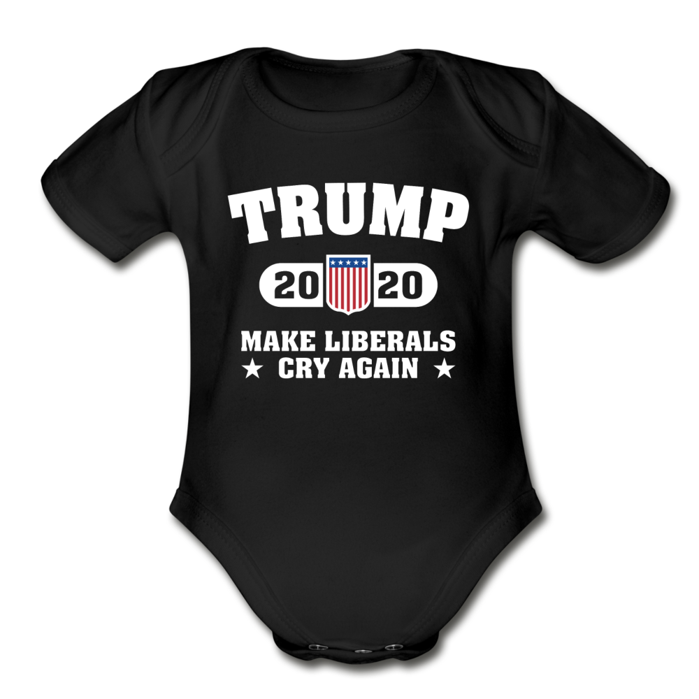 Trump 2020 Make Liberals Cry Again Organic Cotton Baby Onsie - black