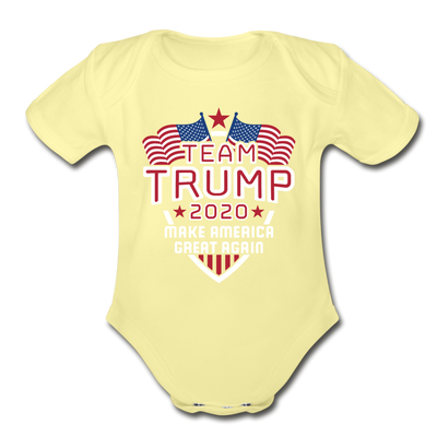 Team Trump 2020 Make America Great Again Organic Cotton Baby Onsie - washed yellow