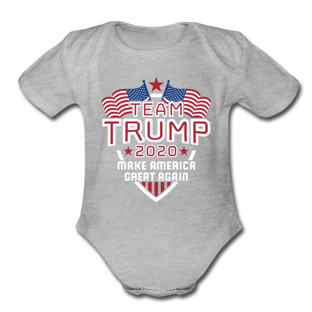 Team Trump 2020 Make America Great Again Organic Cotton Baby Onsie - heather gray