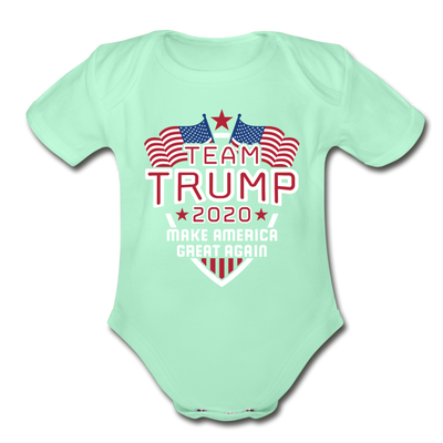 Team Trump 2020 Make America Great Again Organic Cotton Baby Onsie - light mint