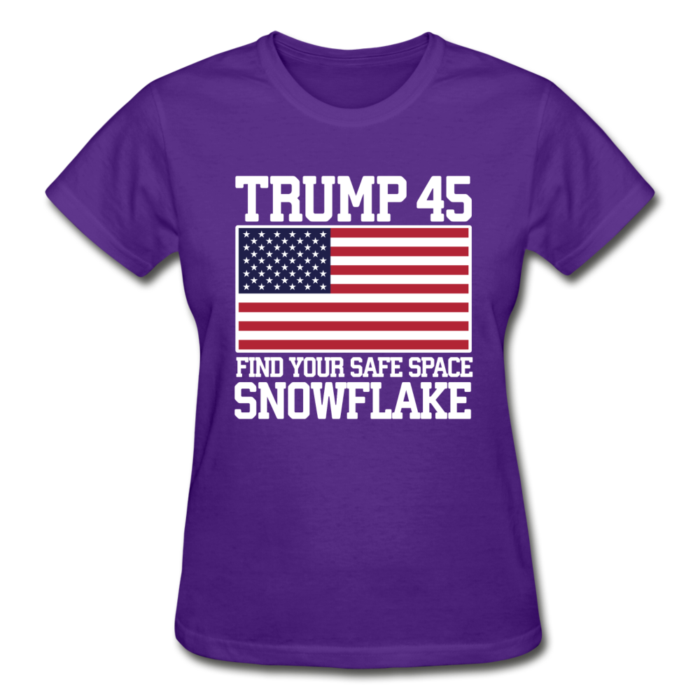 Trump 45 Find Your Safe Space Snowflake Women's T-Shirt - purple