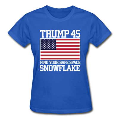 Trump 45 Find Your Safe Space Snowflake Women's T-Shirt - royal blue