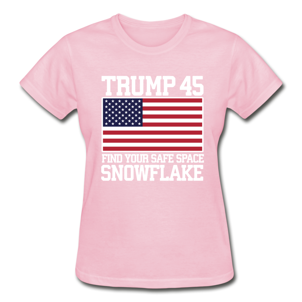 Trump 45 Find Your Safe Space Snowflake Women's T-Shirt - light pink