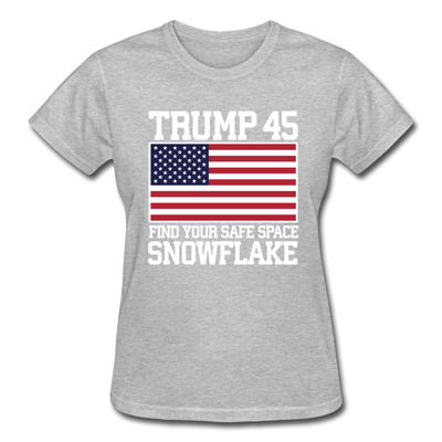 Trump 45 Find Your Safe Space Snowflake Women's T-Shirt - heather gray