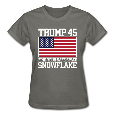 Trump 45 Find Your Safe Space Snowflake Women's T-Shirt - charcoal
