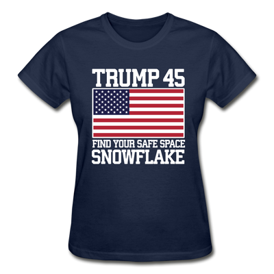 Trump 45 Find Your Safe Space Snowflake Women's T-Shirt - navy