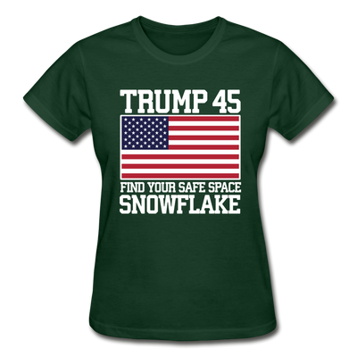 Trump 45 Find Your Safe Space Snowflake Women's T-Shirt - forest green
