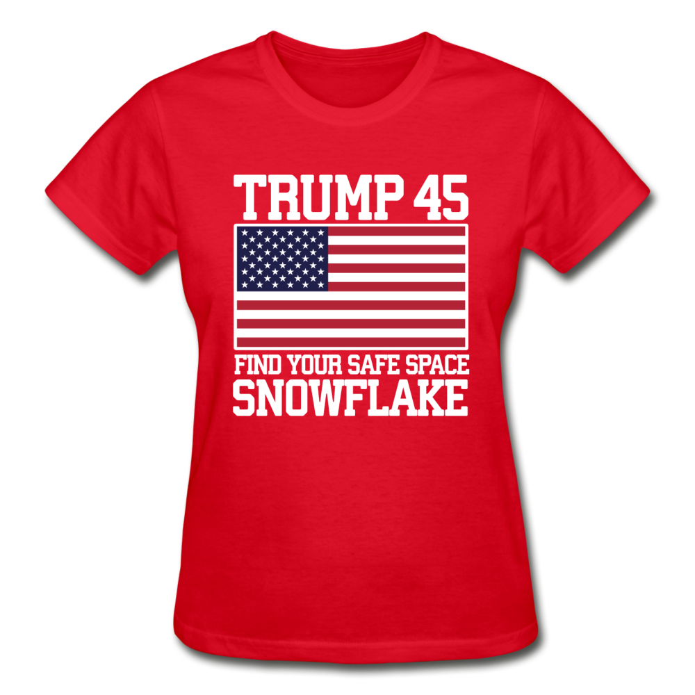 Trump 45 Find Your Safe Space Snowflake Women's T-Shirt - red