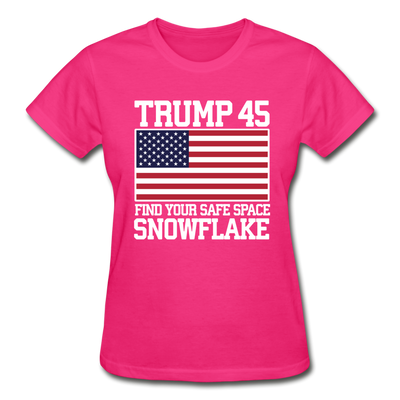 Trump 45 Find Your Safe Space Snowflake Women's T-Shirt - fuchsia
