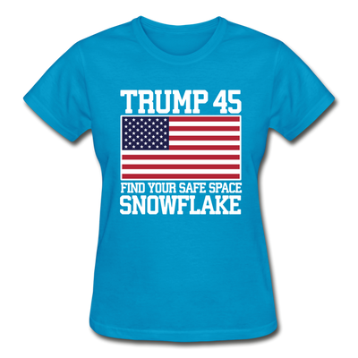 Trump 45 Find Your Safe Space Snowflake Women's T-Shirt - turquoise