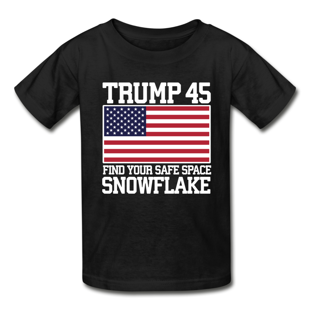 Trump 45 Find Your Safe Space Snowflake Youth T-Shirt - black