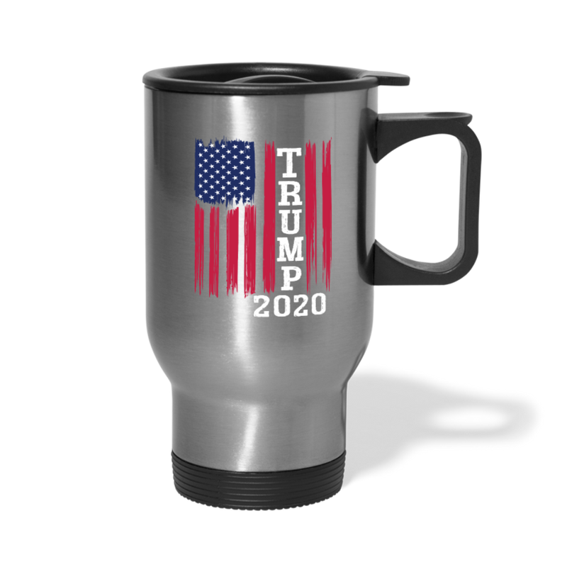 Trump 2020 Flag Travel Mug - silver
