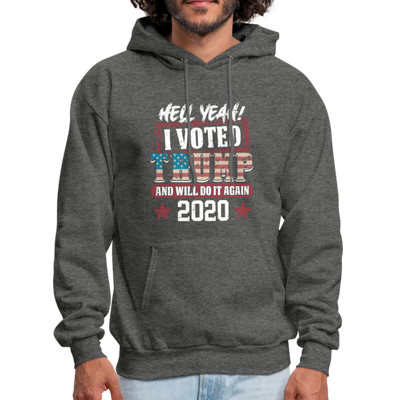 Hell Yeah I Voted Trump Hoodie - charcoal gray