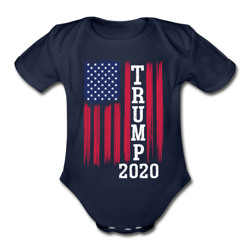Trump 2020 Flag Organic Cotton Baby Onesie - black