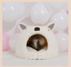 Plush Alpaca Cat Bed