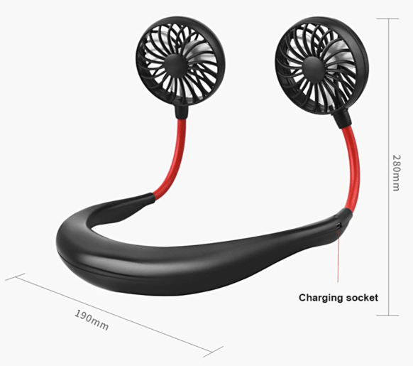 USB Portable Neck Fan - Rechargeable Neckband Cooler