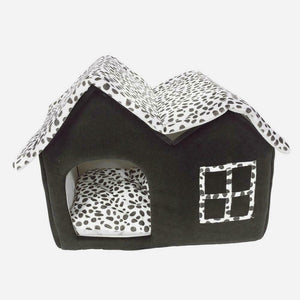 Warm Dog Bed House with Double Roof