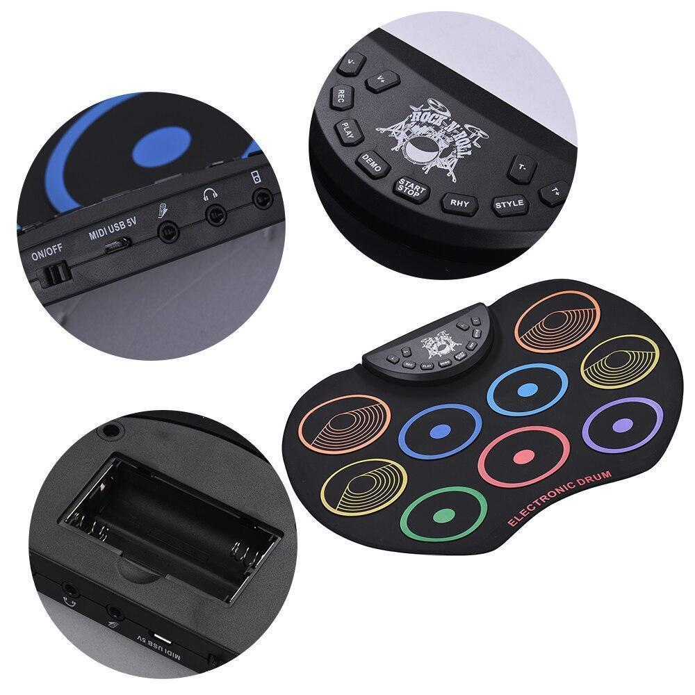 Portable Digital Drum Set - 9 Pads Roll up Silicone Electric Drum Kit Set