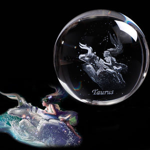 Zodiac Crystal  Glass Ball