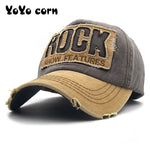 YOYOCORN  European unisex washed old worn edge ROCK letter baseball cap embroidery men and women cap outdoor sun hat