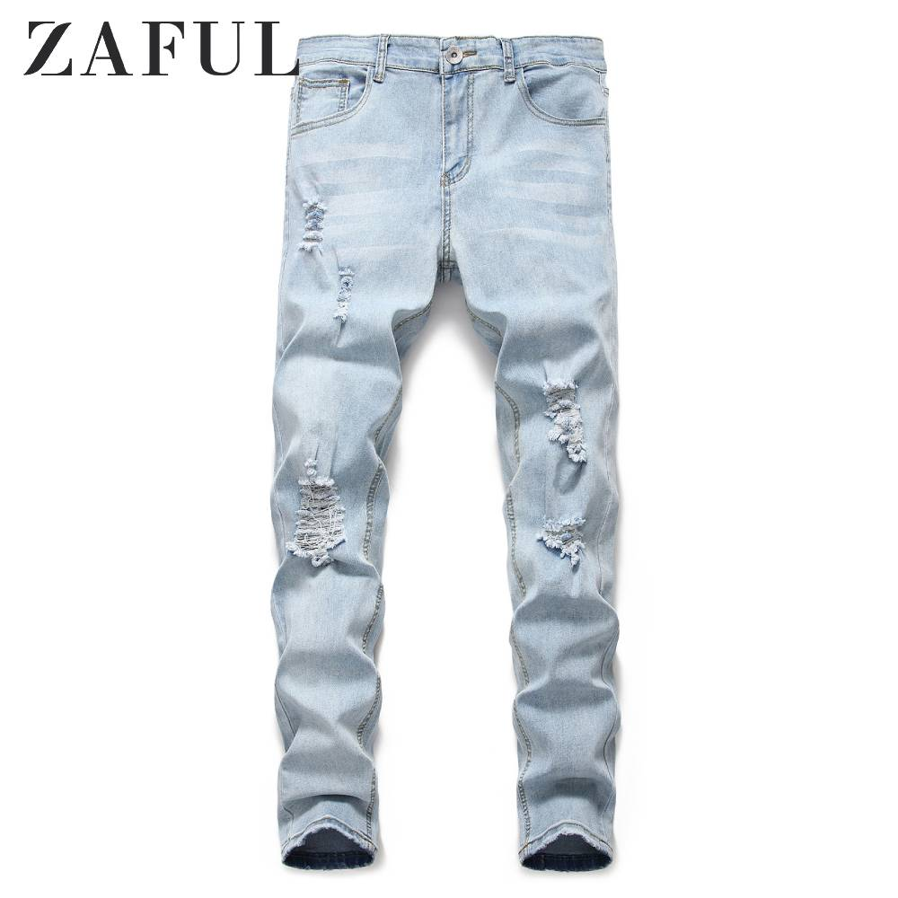 ZAFUL Men's Jeans Light Wash Distressed Design Jeans New Hole Pleated Decorative Jean Mid Waist Zipper Fly Long Pants Jeans Blue