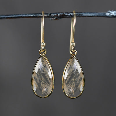 Large Golden Rutile Teardrop Earring