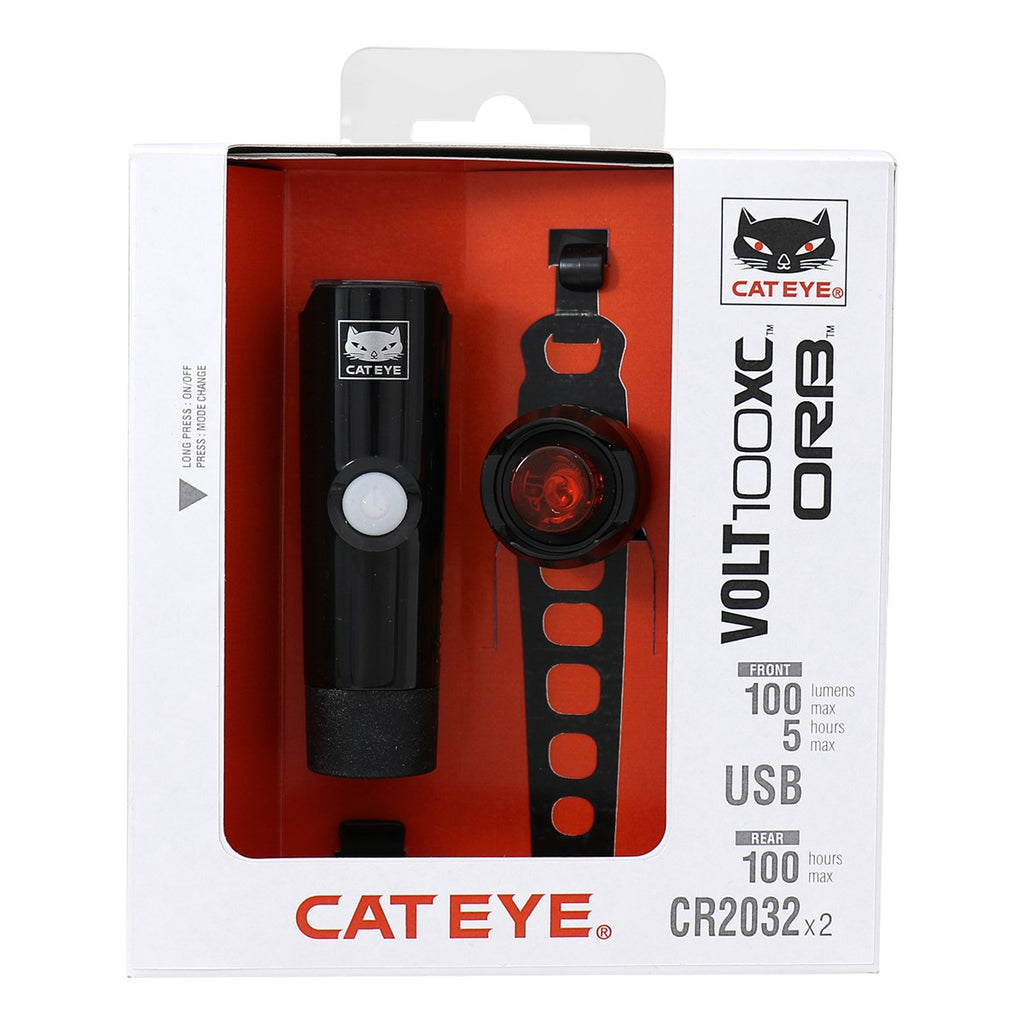 CATEYE VOLT 100XC / ORB BATTERY LIGHT SET - ORBIT Cycling
