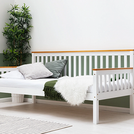 BLYTHE WHITE WITH OAK TOPS WOODEN SINGLE DAY BED FRAME
