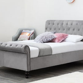 Lambeth Grey Velvet Upholstered Chesterfield Sleigh Double Bed Frame