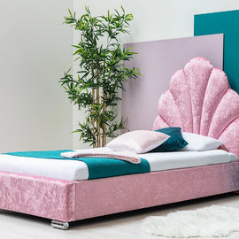 SHELLY PINK CRUSHED VELVET SINGLE BED FRAME WITH SCALLOPED HEADBOARD