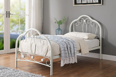 WHITBY ORNATE WHITE METAL SINGLE BED FRAME